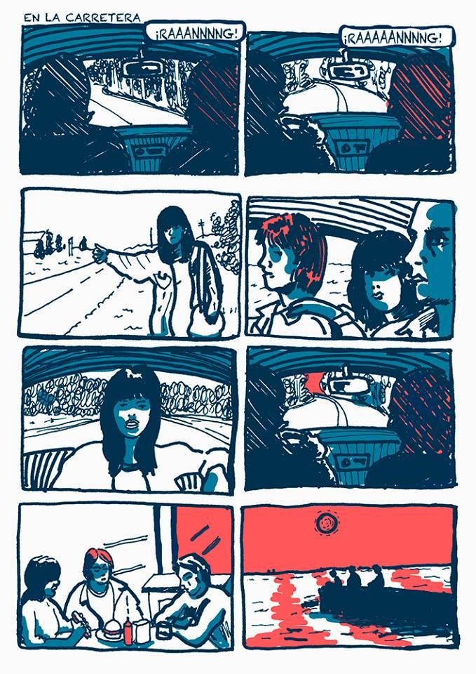 Página 1 de En la carretera, cómic que recuerda las road movies.